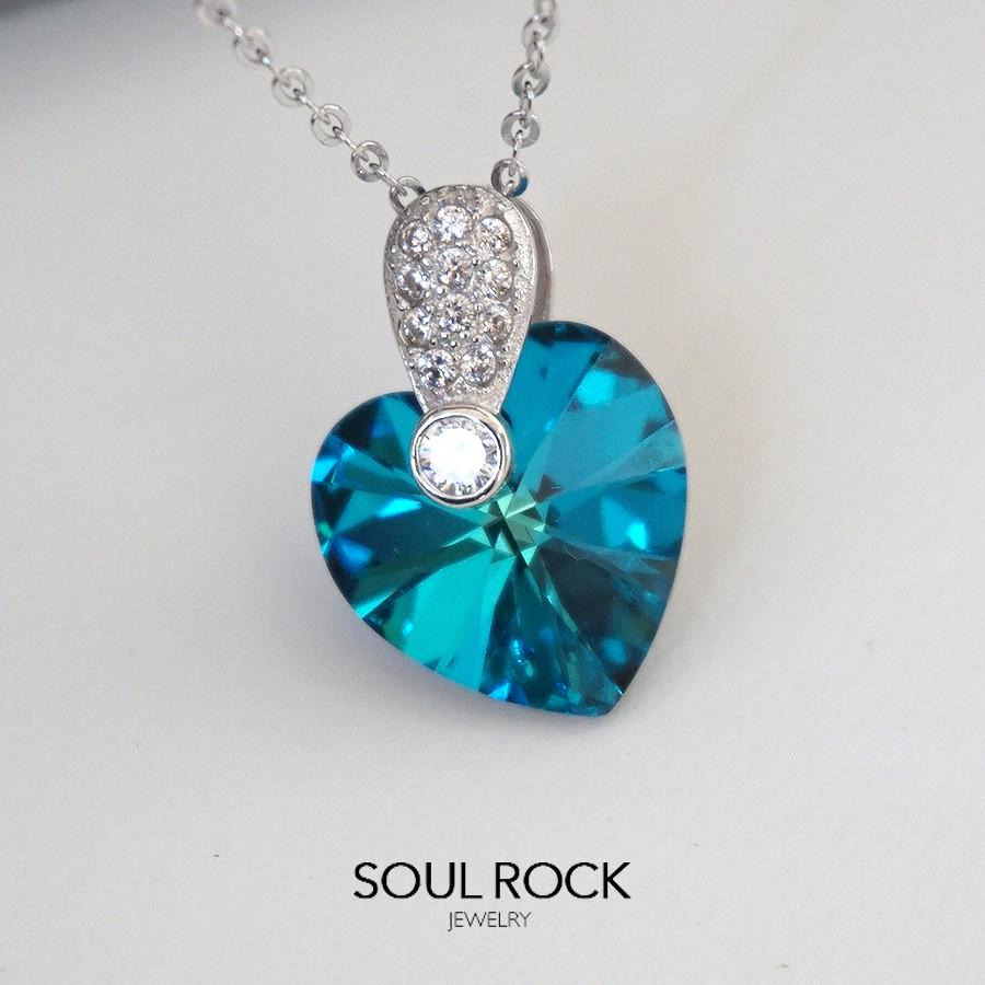 925 blue heart necklace