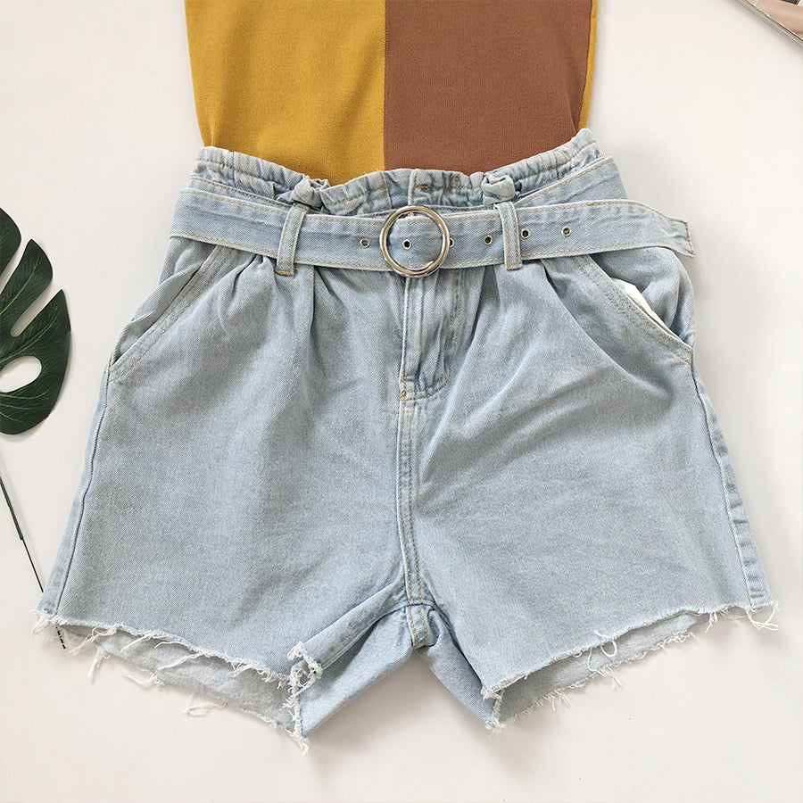 hi-waist denim shorts with belt