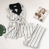 striped sleeveless pant suit