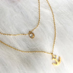 anchor layered stainless steel necklace