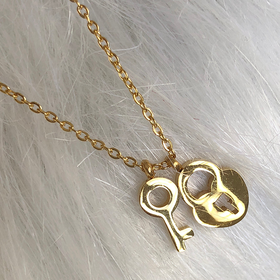 heart & key stainless steel necklace
