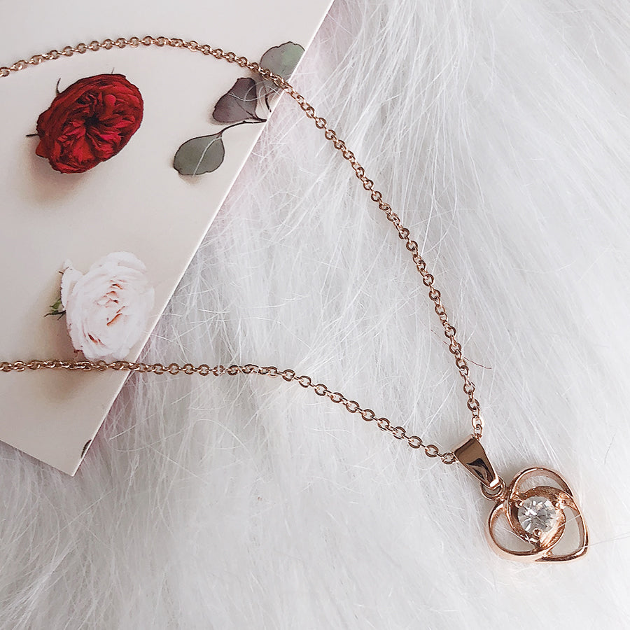 rose gold heart solitaire stainless steel necklace