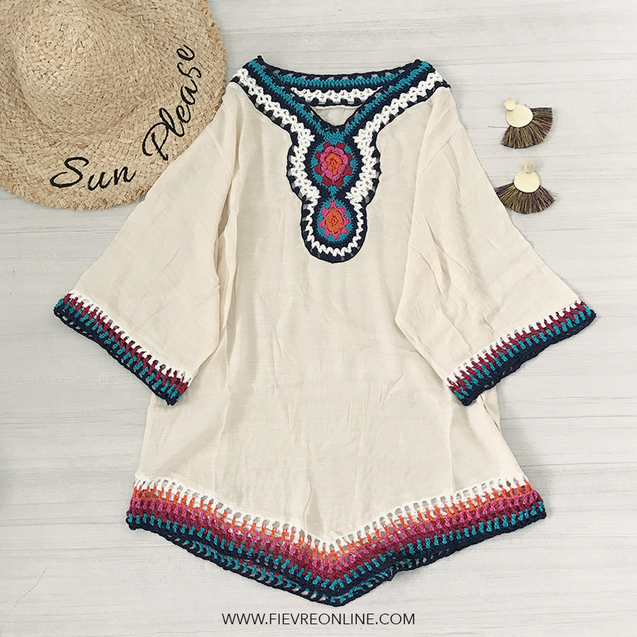 oversized bohemian crochet  top