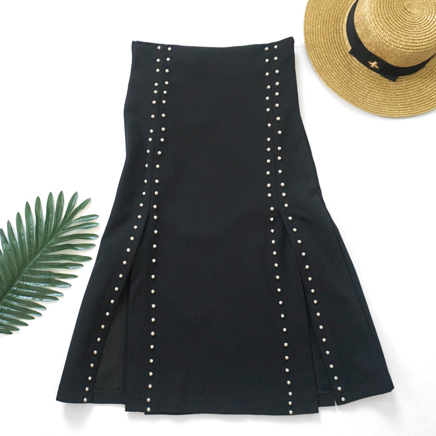studded double split midi skirt
