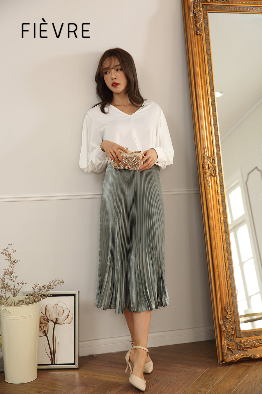 permanent pleated long skirt