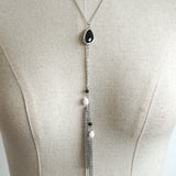 black gem tribal boho necklace (stainless steel)