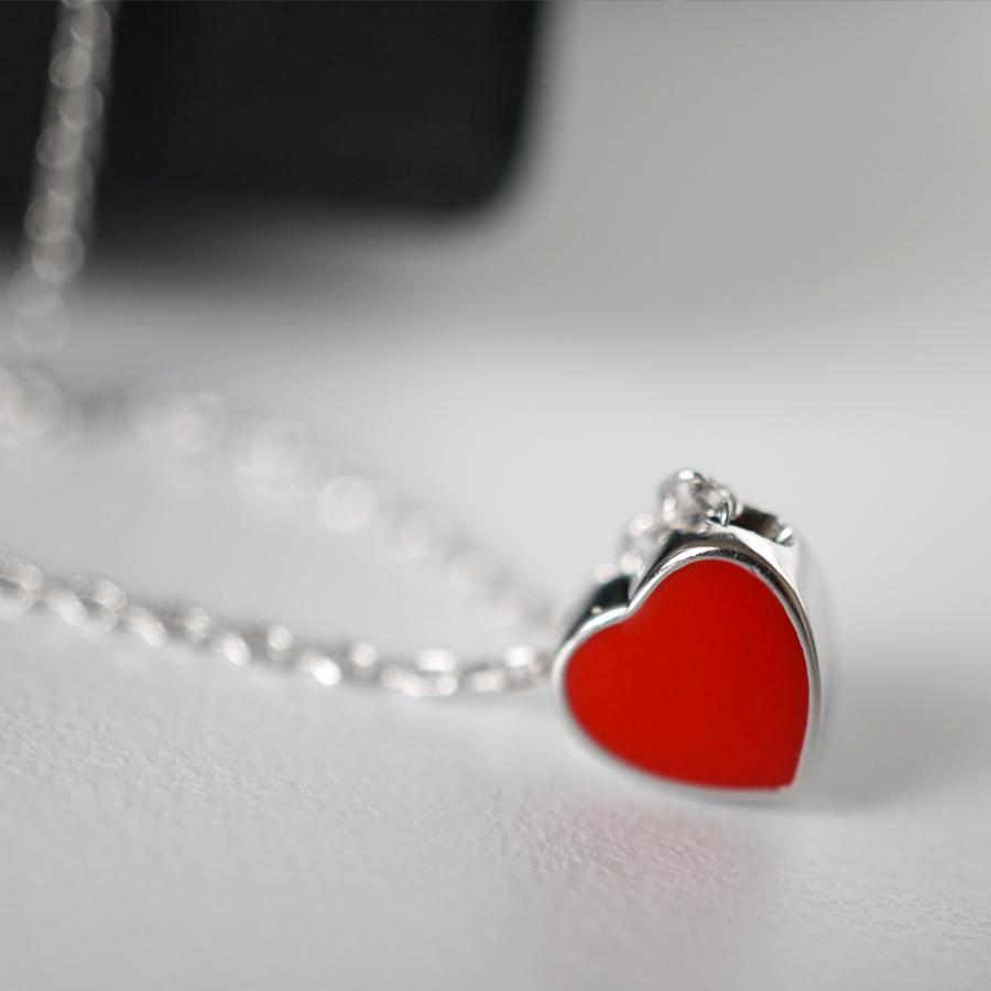 925 red heart necklace