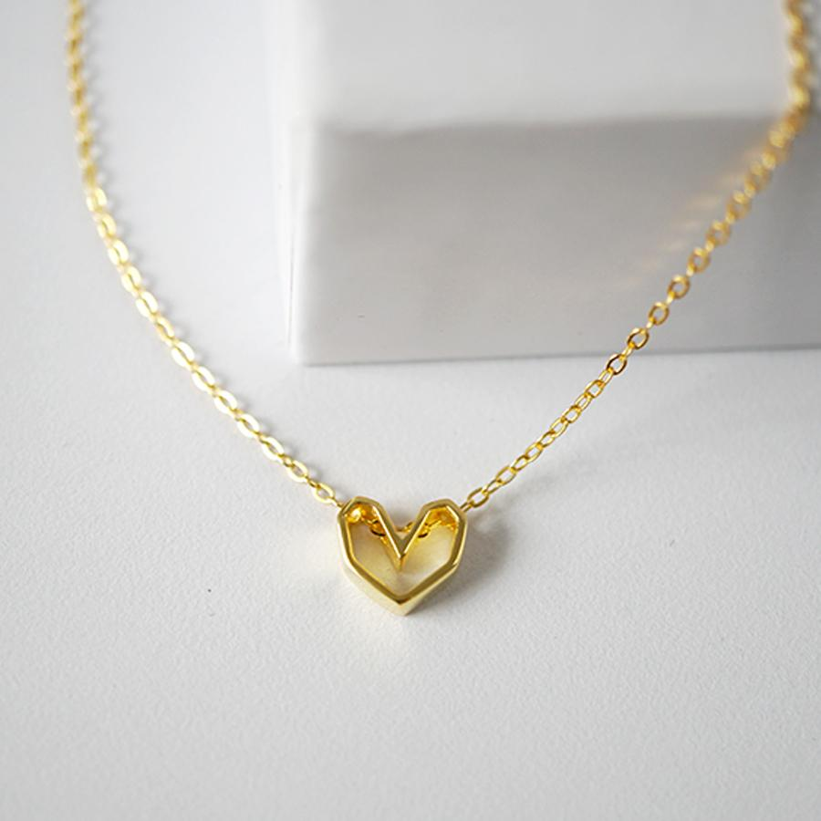 925 hollow heart necklace