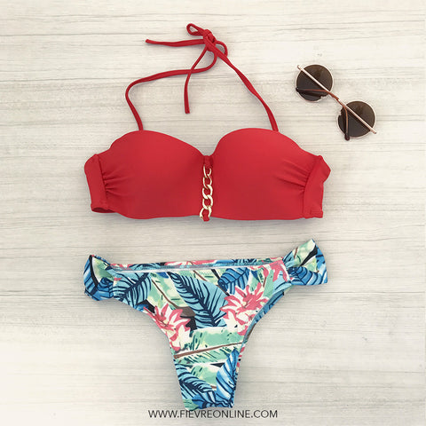 red floral print push up bandeau bikini set