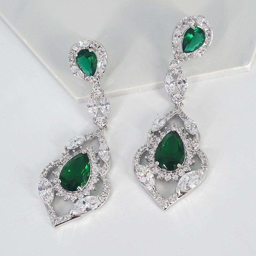 Audrey green stone cubic zirconia earrings