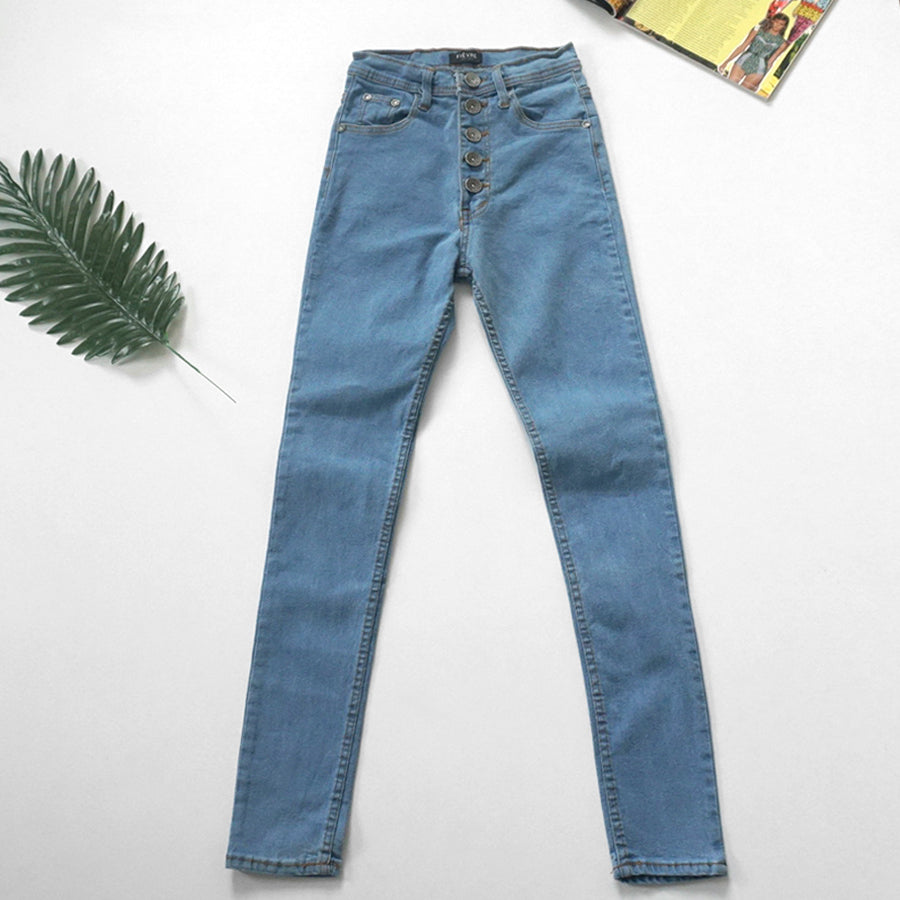 5 button hi-waist denim jeans