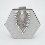 hexagon bejeweled clutch