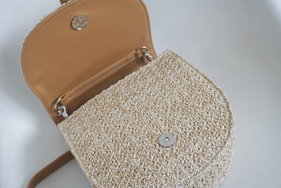 Kaia crossbody straw bag