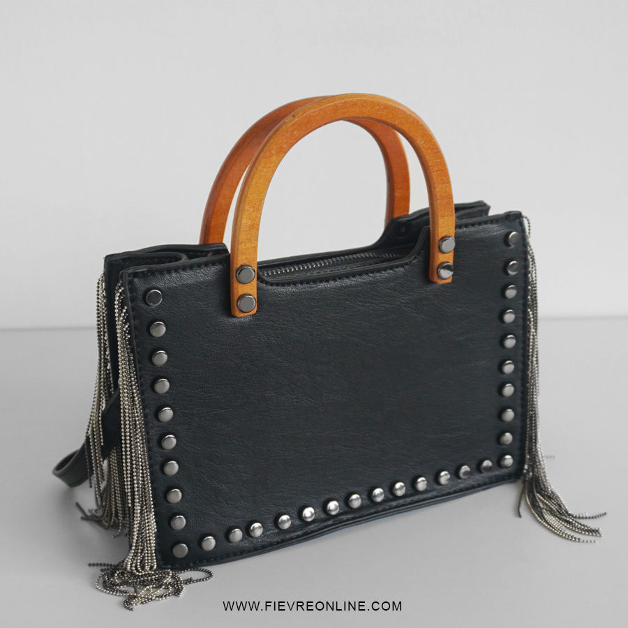 Yvette wooden handle fringe bag