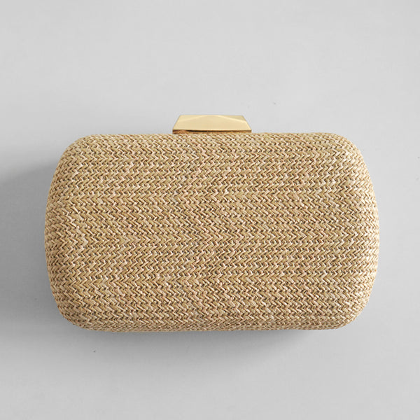 Sandy straw clutch bag