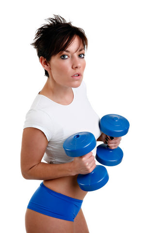 Girl Exercising with weights