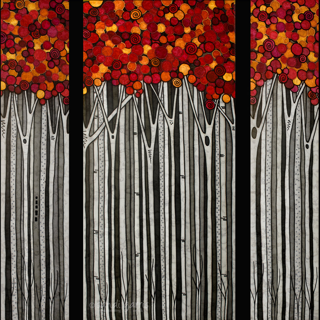 Blazing Autumn Triptych  16 X 32 and 2  8 X 32