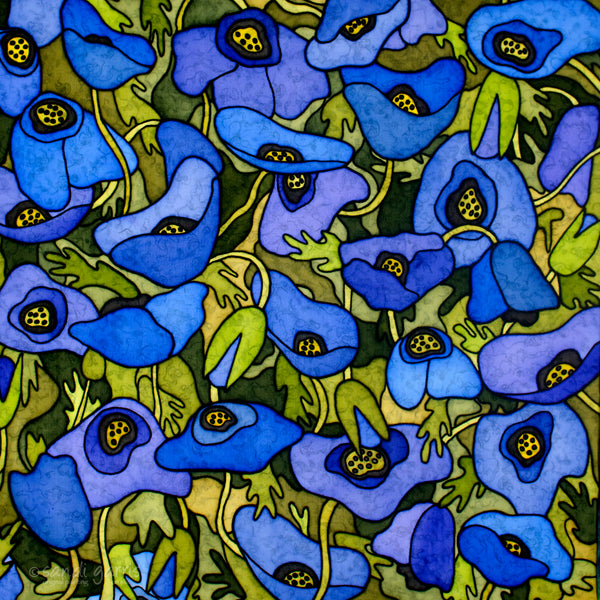 Blue Poppies 28 X 28