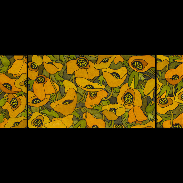 California Poppies Triptych  20 X 32 and 2 - 10 X 20