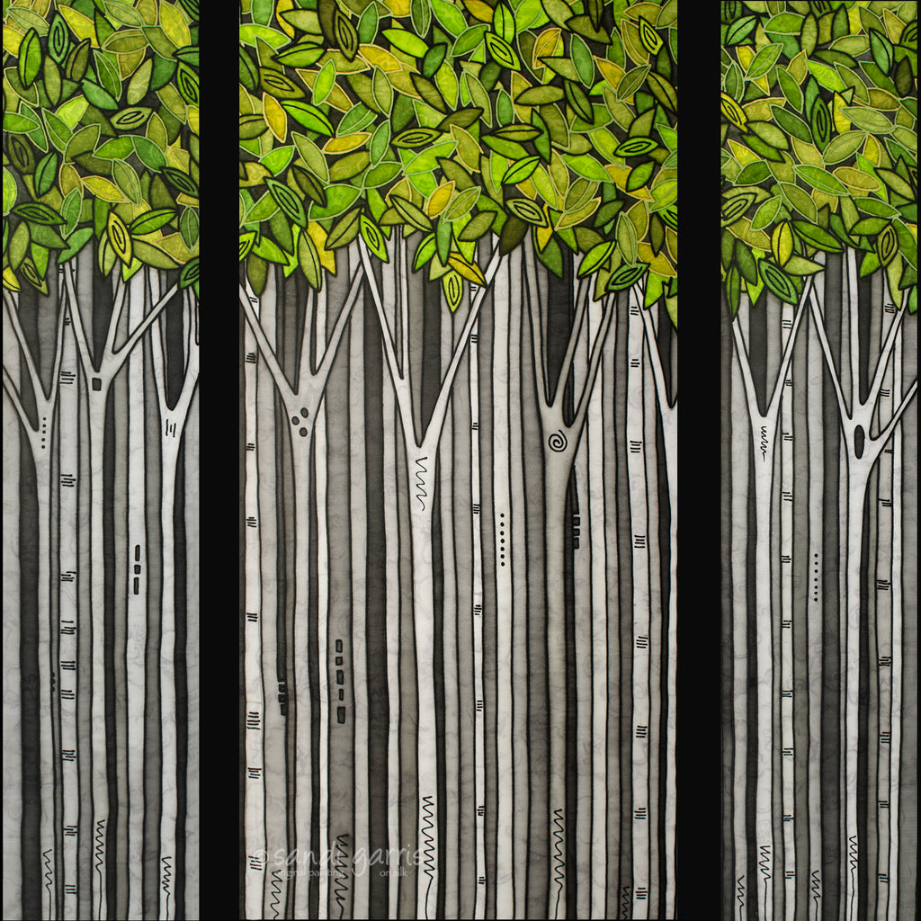Early Spring Triptych  16 X 32 and 2  8 X 32