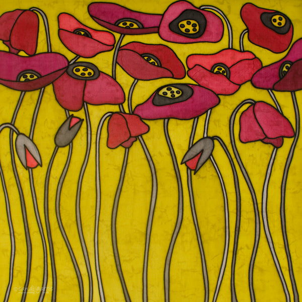 Poppies ~ Red/Chartreuse 20 X 20