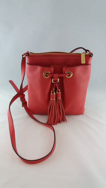 MICHAEL KORS CAMDEN 35S6GCD1L WATERMELON DRAW STRING CROSSBODY LEATHER