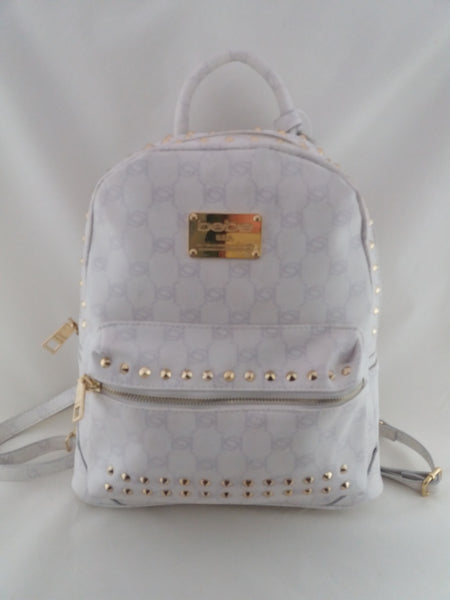 BEBE USA JETT- STUDDED MONOGRAM BACKPACK SHOULDER BAG WHITE