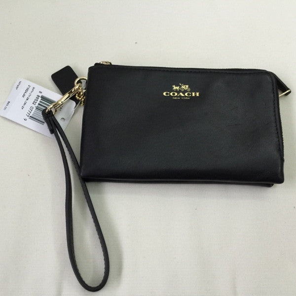 Coach DOUBLE CORNER ZIP WRISTLET IN LEATHER COACH STYLE #F64581 IMBLK