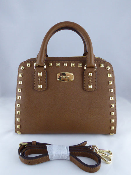 f78249b128fc MICHAEL KORS SAFFIANO STUD SATCHEL HANDBAG LUGGAGE BROWN LEATHER 35S6G –  www.AuthenticBags.Com.Ph