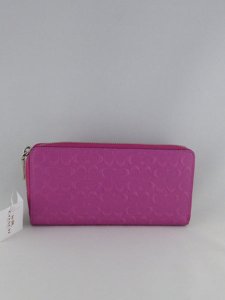 COACH  ACCORDION ZIP WALLET IN LOGO EMBOSSED LEATHER 52330 SV/FX PINK