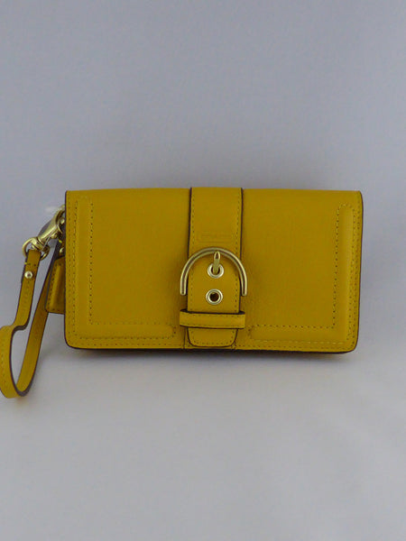 COACH CAMPBELL LEATHER BUCKLE DEMI CLUTCH/WRISTLET/WALLET F50061 B4/SUN FLOWER