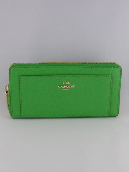 COACH CROSSGRAIN LEATHER ACCORDION ZIP AROUND WALLET F52648 IM/KELLY GREEN