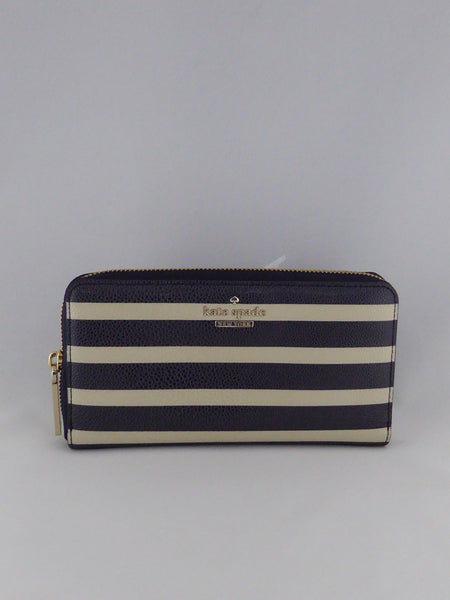 KATE SPADE CEDAR STREET STRIPE LACEY LONG WALLET  PWRU4128 BLACK/CREAM
