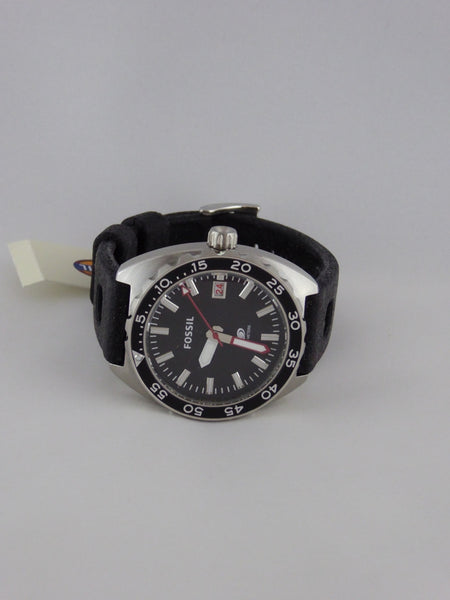 FOSSIL BREAKER THREE-HAND DATE SILICONE WATCH BLACK FS5053