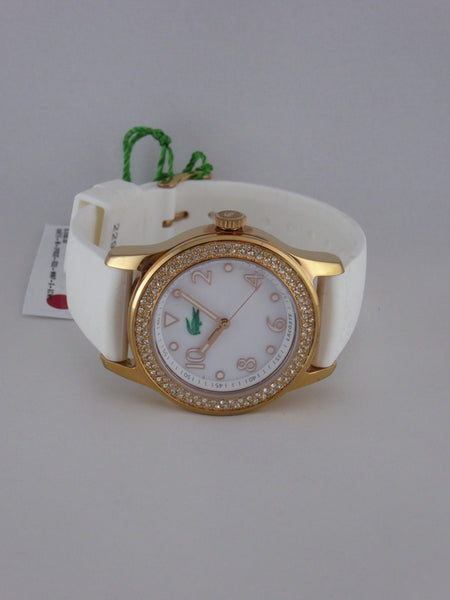 LACOSTE LADIES WATCH ADVANTAGE 2000648 GOLD WITH WHITE STRAP