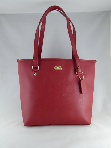 COACH CG LEATHER ZIP TOP TOTE CLASSIC RED F36632 IME8B