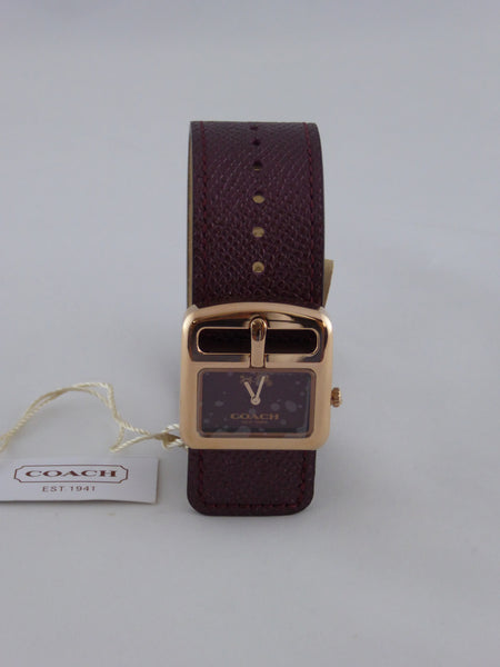 Coach Duffle Bucket Metallic Cherry  Leather Strap Ladies Watch