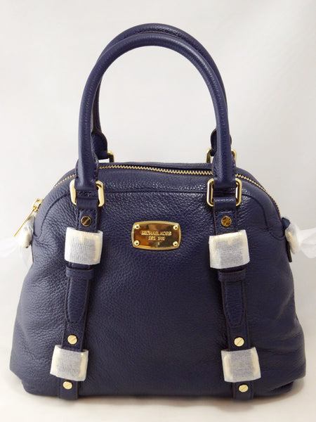 6182ad5042c25 ... italy michael kors bedford medium satchel leather shoulder handbags  navy fdca3 f583e