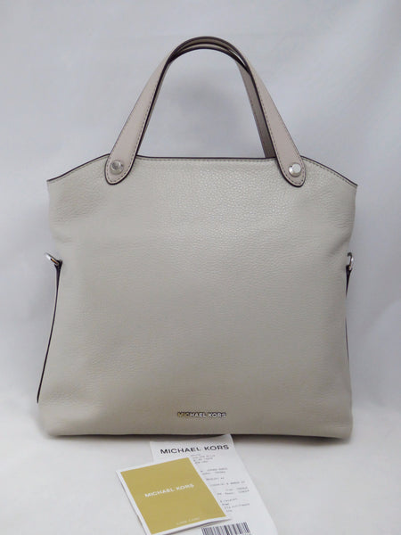55ac901876fc1f MICHAEL KORS HYLAND SMALL LEATHER SATCHEL 30T6SH5S1L CEMENT