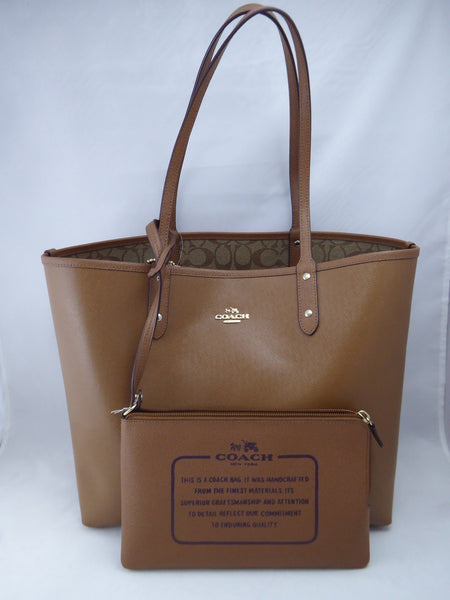 Coach F36658 IMBDX Reversible PVC Tote in Signature (Khaki / Saddle)
