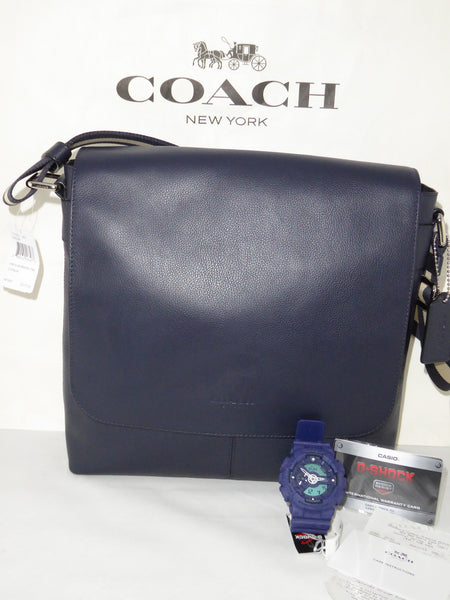 CHARLES SMALL MESSENGER IN SPORT CALF LEATHER (COACH F72362) MIDNIGHT