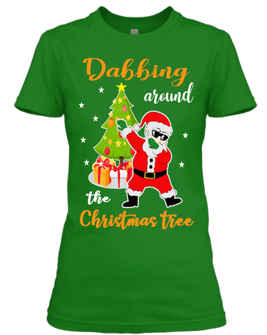 """DABBING AROUND THE CHRISTMAS TREE"" (UNISEX T-SHIRT) - GREEN"