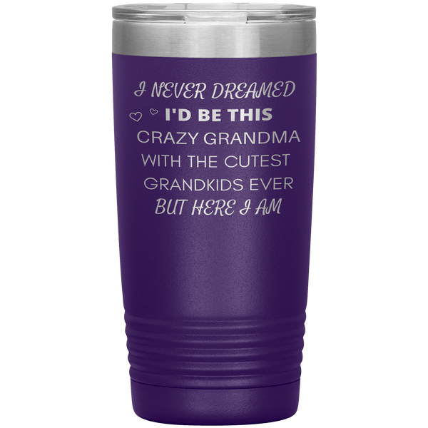 """I NEVER DREAMED I'D BE THIS CRAZY GRANDMA""-TUMBLER."