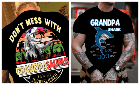 """2 Combo Pack Shirt(Grandpa Shark And Grandpa Saurus)""(Flat Shipping) For  Men's T-shirt."