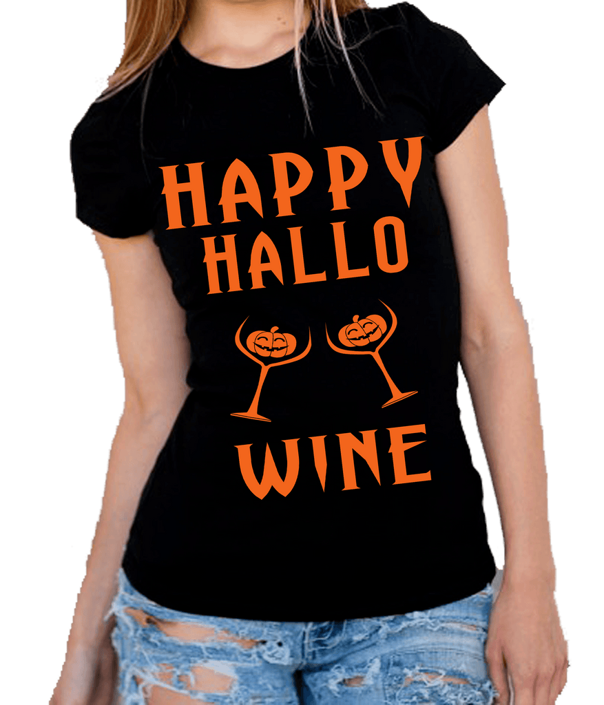 """HAPPY HALLOWINE""(50% Off Today) Flat Shipping.(HALLOWEEN SPECIAL) BLACK AND WHITE T-SHIRT"