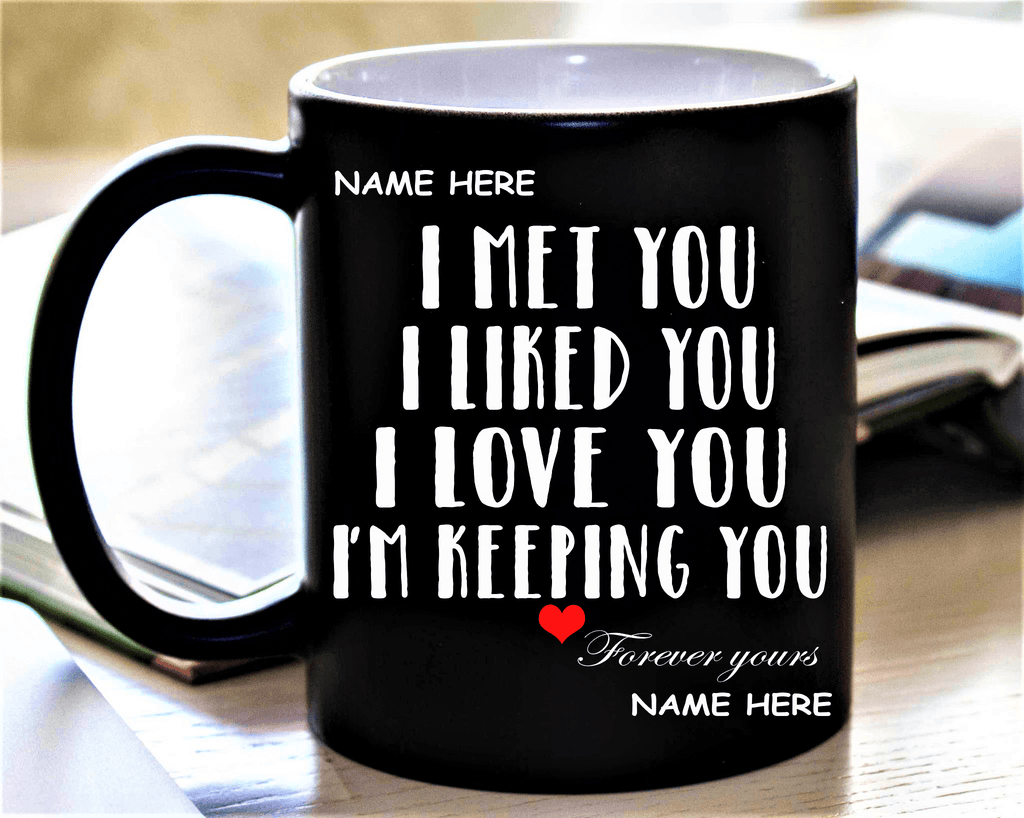 """I MET YOU I LIKE YOU""BLACK MUG"
