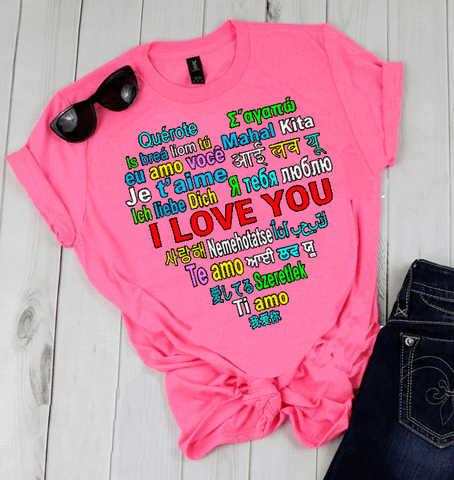 """ I LOVE YOU....  "" Flat Shipping( Shirt 50% Off Today) - Pink"