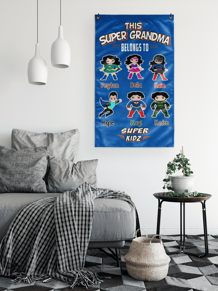 """This Super Grandma Belongs To Super Kids"" House flag(Best Price Sale) 50% Off Flat Shipping."