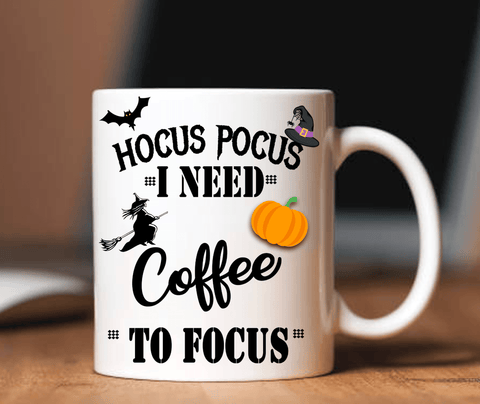 """HOCUS POCUS I NEED COFFEE TO FOCUS"" MUG HALLOWEEN SPECIAL(FLAT SHIPPING)"