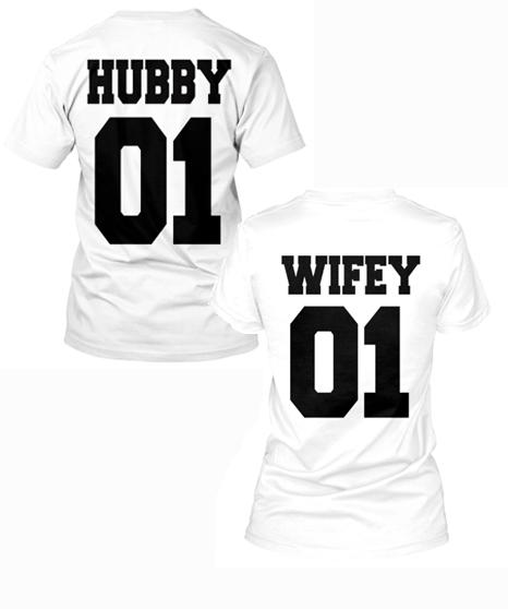 Couple Tee - HUBBY-WIFEY NUMBERING T-SHIRTS FOR COUPLE, ON SUMMER SALE @50% OFF